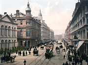Carriages Posters - Belfast Photochrom 1900 Poster by Mountain Dreams