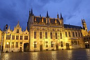 Photographies Prints - Belgium. Bruges. Burg Square. City Hall Print by Everett