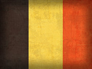 Brussels Posters - Belgium Flag Vintage Distressed Finish Poster by Design Turnpike