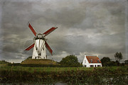 Wooden Building Posters - Belgium Windmill Poster by Juli Scalzi
