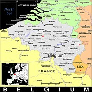Belgium Mixed Media - Belguim Exotic Map by Florene Welebny