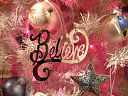 Chrismas Framed Prints - Believe in Pink Framed Print by Audrey Peaty