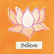 Pink Lotus Posters - Believe Poster by Linda Woods