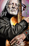 Willie Nelson Posters - Believing In Rainbows and Butterflies-Being Willie Poster by Reggie Duffie