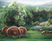 Hay Bales Paintings - Beliveau Hay Rolls by Donna Tuten