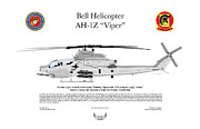 Viper Digital Art Framed Prints - Bell AH-1Z Viper Framed Print by Arthur Eggers