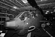 Naval Aircraft Prints - Bell AH1 Cobra on the hangar deck of the Intrepid Sea Air Space Museum Print by Joe Fox