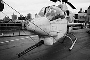 Manhaten Prints - Bell AH1J ah 1j Sea Cobra on display on the flight deck of the USS Intrepid new york Print by Joe Fox
