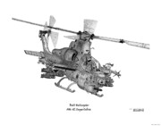 Attack Drawings Framed Prints - Bell Helicopter AH-1Z SuperCobra Framed Print by Arthur Eggers