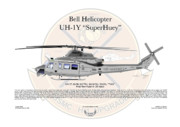 Marine Corp Framed Prints - Bell Helicopter UH-1Y SuperHuey Framed Print by Arthur Eggers