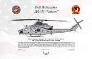 Helicopter Digital Art Prints - Bell Helicopter UH-1Y Venom Print by Arthur Eggers