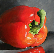 Pepper Painting Metal Prints - Bell Pepper Mini Metal Print by Steve Goad