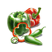 Pepper Painting Prints - Bell Peppers Jalapeno Print by Irina Sztukowski