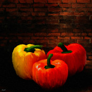 Vegetables Digital Art Prints - Bell Peppers Print by Lourry Legarde