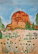 Sedona Drawings Prints - Bell Rock Print by Marcia Weller-Wenbert