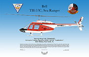 Helicopter Digital Art Prints - Bell TH-57 Sea Ranger Print by Arthur Eggers