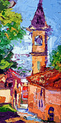 Red Roofs Framed Prints - Bell Tower in Italy Framed Print by Ginette Callaway