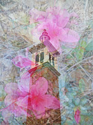 Judy Hall-folde Posters - Bell Tower Wrapped in Spring Poster by Judy Hall-Folde