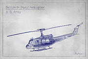 U.s Army Digital Art Framed Prints - Bell UH-1H Huey Helicopter  Framed Print by Barry Jones