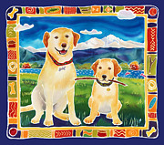 Happy Lab Posters - Bella and Brunos Fine Day Poster by Harriet Peck Taylor