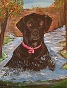 Indiana Autumn Painting Framed Prints - Bella Swimming Framed Print by Melanie Wadman