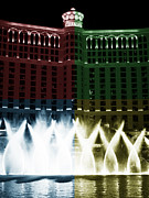 Las Vegas Artist Framed Prints - Bellagio Fountain Fusion Framed Print by John Rizzuto