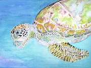 Green Sea Turtle Painting Metal Prints - Bellas Lone Turtle Metal Print by Viviana Ziller