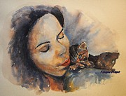 Watercolor Cat Paintings - Belle endormie au chat  by Francoise Dugourd-Caput