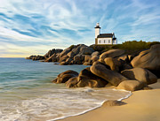 Seascape Paintings - Belle Isle Light by James Charles