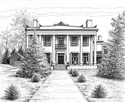Landscape Framed Prints Drawings Framed Prints - Belle Meade Plantation Framed Print by Janet King