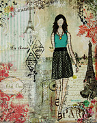 Janelle Nichol Prints - Belle Ville Belle Dame French inspired mixed media abstract artwork Print by Janelle Nichol