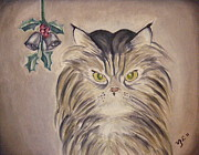 Persian Cat Paintings - Belle with Silver Bells by Victoria Lakes
