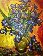 Vangogh Originals - Belles Pot of Fiery Irises by Belinda Low