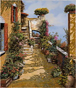 Stairs Painting Prints - Bello Terrazzo Print by Guido Borelli