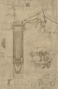 Engineering Drawings Prints - Bellows perspectograph with man examining inside from Atlantic Codex Print by Leonardo Da Vinci