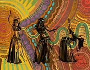 Monica Warhol Glass - Belly Dancers by Corporate Art Task Force