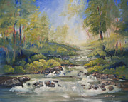 Waterfalls Paintings - Below Amicalola Falls Painting by Sally Simon