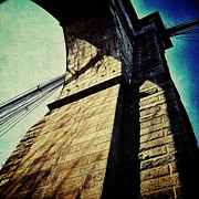 Iconic Architecture Posters - Below the Brooklyn Bridge Poster by Natasha Marco