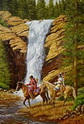 Cowboys And Indians Painting Framed Prints - BElow the Falls Framed Print by Jeroem Vogschmidt