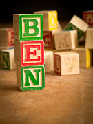 Wooden Blocks Framed Prints - BEN - Alphabet Blocks Framed Print by Edward Fielding