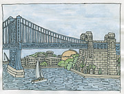 Ben Franklin Paintings - Ben Franklin Bridge into Camden by Cee Heard
