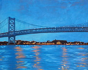 Philadelphia Painting Prints - Ben Franklin Night Print by Elisabeth Olver