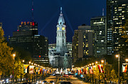 Dusk Framed Prints - Ben Franklin Parkway and City Hall Framed Print by John Greim