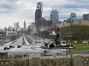 Philly Skyline Art - Ben Franklin Parkway by Eric Nagy