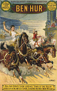 And Posters Drawings Prints - Ben-hur  1903 1900s Usa Ben Hur Horses Print by The Advertising Archives