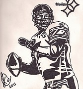 Pittsburgh Steelers Drawings Posters - Ben Roelthlisberger Poster by Jeremiah Colley