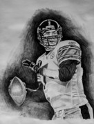 Steelers Drawings Framed Prints - Ben Roethlisberger Framed Print by Jeremy Moore
