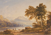 Figures Painting Framed Prints - Ben Vorlich and Loch Lomond Framed Print by Anthony Vandyke Copley Fielding
