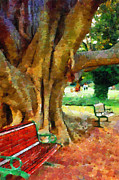 Baobab Paintings - Bench at baobab tree painting by George Fedin and Magomed Magomedagaev