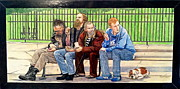 Figures Mixed Media - Bench People Series-The Guys  by Betsy Frahm
